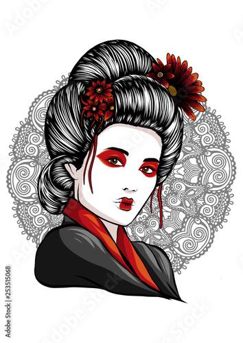 Canvas-taulu face of a geisha drawn like a comic