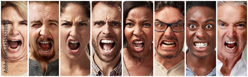 Tela Angry, fury and screaming people