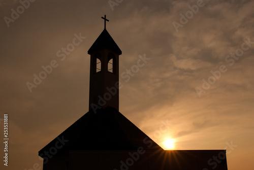 Wallpaper Mural Sunset and Church - 夕日と教会