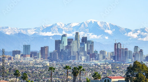 Fotografie, Obraz Downtown Los Angeles view from Kenneth Hahn Park, California