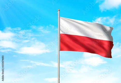 Wallpaper Mural Poland flag waving sky background 3D illustration