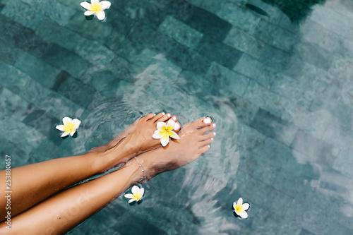 Foot spa in tropical swimming pool
