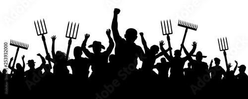 Fotografia, Obraz Crowd of people with a pitchfork shovel rake