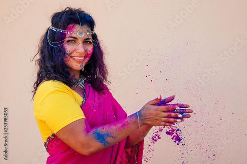 Stampa su Tela female indian model snow-white smile on holi color festival