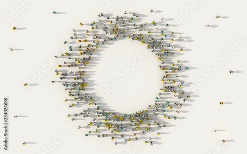 Fotografia Large group of people forming a circle geometry icon with copy space in social media and community concept on white background
