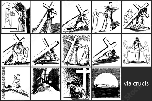 Fotografia Way of the Cross stations - vector sketch drawing
