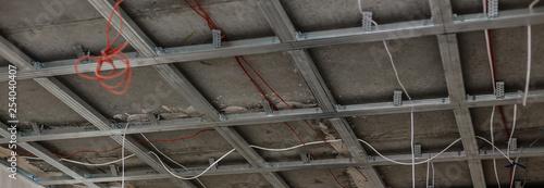 Vászonkép Hung ceiling at construction site