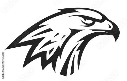 Valokuvatapetti Abstract eagle or hawk head isolated on white background