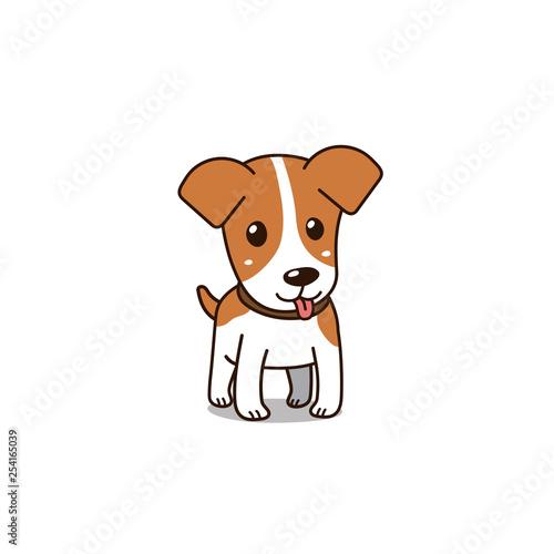 Fotografie, Obraz Cartoon vector character cute jack russell terrier dog for design