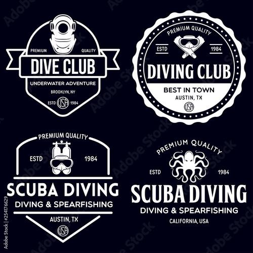 Canvas Print Set of Scuba diving club and diving school design