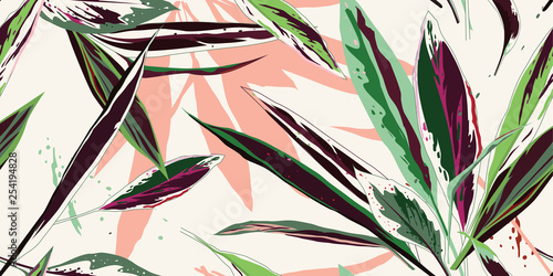 Modern floral seamless pattern. Sketch of multi-colored leaves on a light background. Hand-drawn vector illustration.