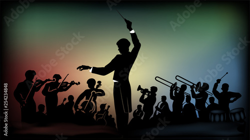 Fotografia Flat monochromatic silhouette of an orchestra under the direction of a conductor