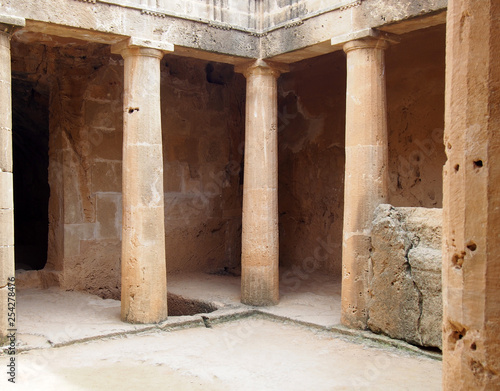 Canvas The ancient burial chamber with columns and doorway of tomb number 3 at the Tomb