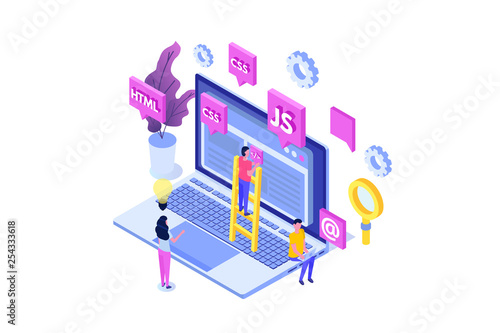 Fototapeta Web design and Front end development isometric concept