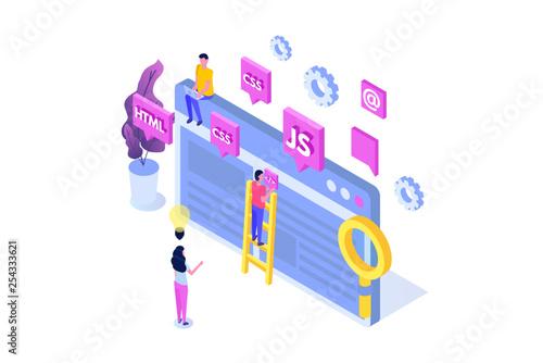 Obraz na plátně Web design and Front end development isometric concept