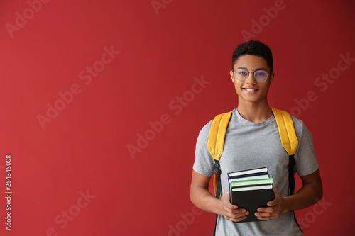 Photographie African-American schoolboy with books on color background