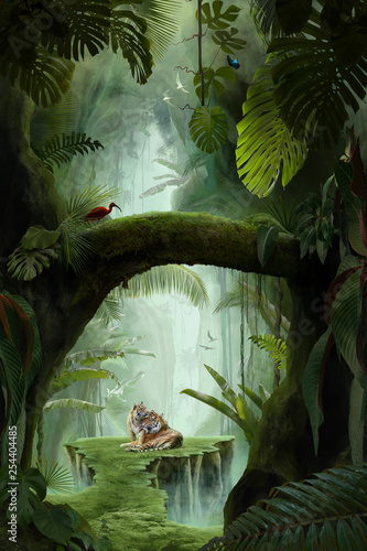 Wallpaper Mural inside a deep mystical jungle canyon, can be used as background, wallpaper