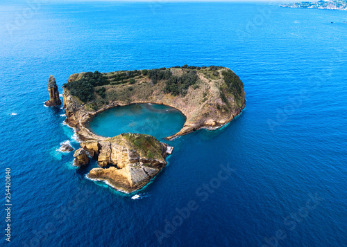 Aerial view of Islet of Vila Franca do Campo near San Miguel island, Azores - Portugal.