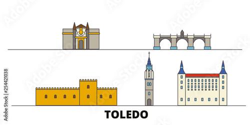 Spain, Toledo flat landmarks vector illustration. Spain, Toledo line city with famous travel sights, design skyline.