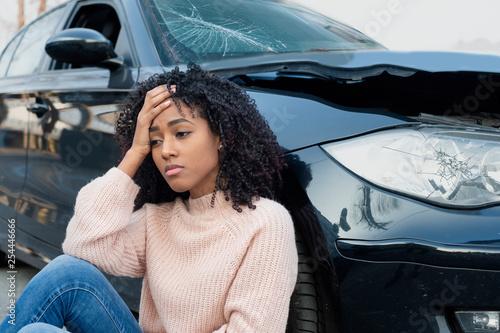 Fotografie, Obraz Car accident and black woman feeling pain