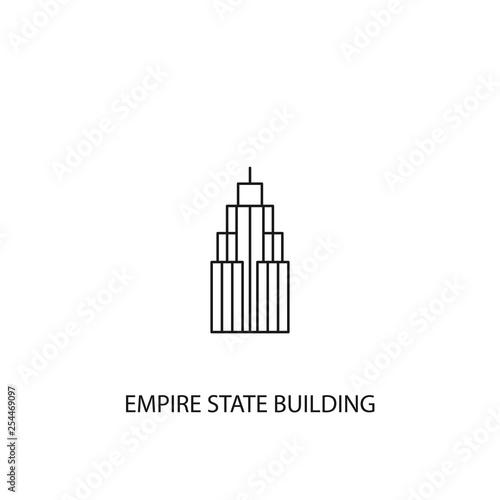 Canvastavla Empire State Building vector icon, outline style, editable stroke