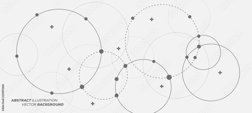 Streszczenie ilustracji wektorowych z nakładających się okręgów, kropek i kółek przerywanych. Koncepcja nauki i połączenia. Tło struktury szerokiej cząsteczki. <span>plik: #254472666   autor: hunthomas</span>