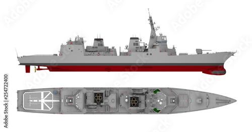 Photo warship isolated on white