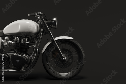 Fotografia Caferacer motorcycle on clean background flatlay 3d illustration