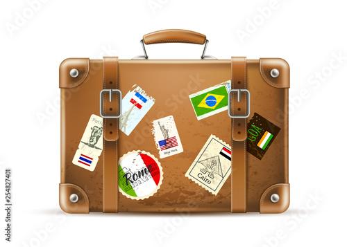 Fotografia Vector vintage travel bag leather brown suitcase