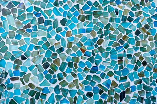 Photo Irregular shaped Seas glass tile mosaic wall
