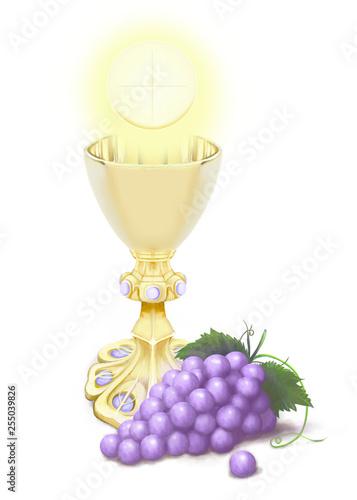 Hostia, neogotycki kielich z ametystami, blask, winogrona
