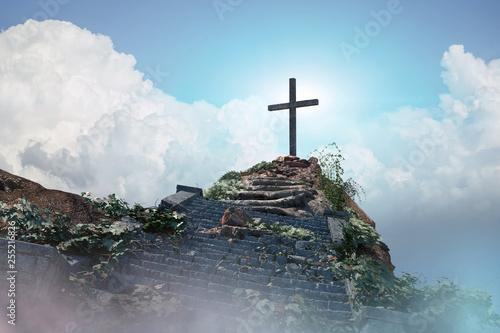 stairs to the cross of Jesus Christ 3d render Fototapet