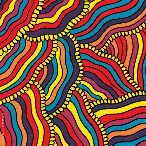Canvas Print Colorful psychedelic background with stripes