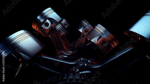 Fotografering 3D illustration of car engine closeup. Motor concept