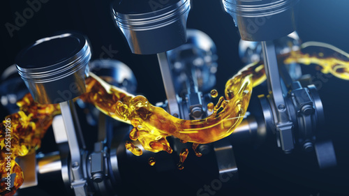 Fotografia, Obraz 3d illustration of car engine with lubricant oil on repairing