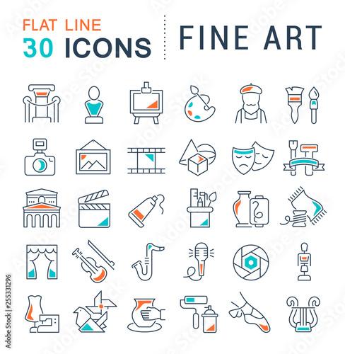 Fototapeta Set Vector Line Icons of Fine Art.
