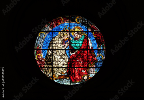 Canvas Print Coronation of the Virgin by Donatello, stained glass window in the Cattedrale di