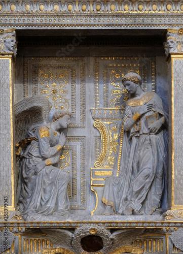 Canvas Print Annunciation for the Cavalcanti altar, ca 1435, by Donatello (1386-1466), limest