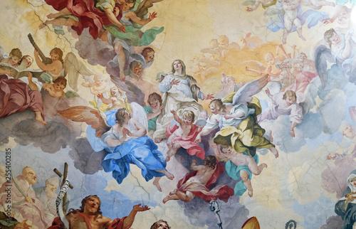 Glory of the Florentine saints, fresco by Vincenzo Meucci in the Basilica di San Fototapet
