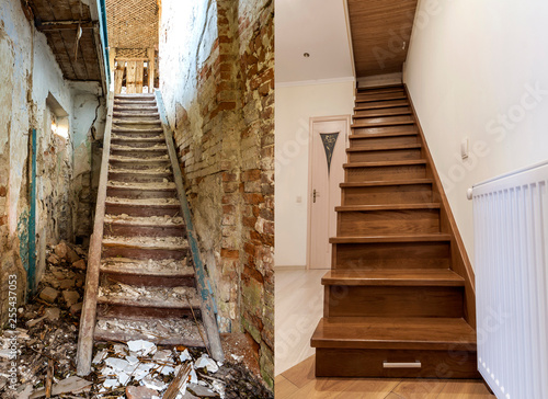 Comparison of modern brown wooden staircase in new renovated apartment interior and old ladder stairs Fototapeta
