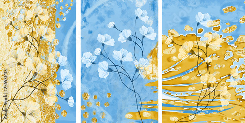 Collection of designer oil paintings. Decoration for the interior. Modern abstract art on canvas. Set of pictures with different textures and colors. Blue and gold.