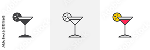 Margarita cocktail icon. Line, glyph and filled outline colorful version, Cocktail glass with lemon slice outline and filled vector sign. Bar symbol, logo illustration. Different style icons set.