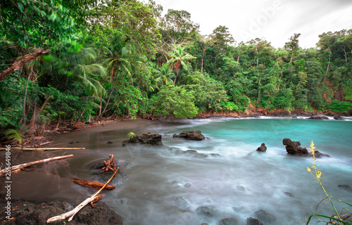 Long exposure of the densely vegetated coastline on the west side of the Osa Peninsula, Costa Rica.