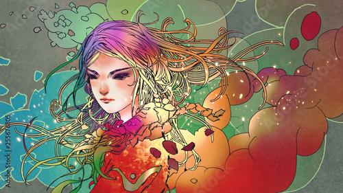 portret pięknej dziewczyny w kolorowym dymie w stylu anime, malarstwo ilustracyjne