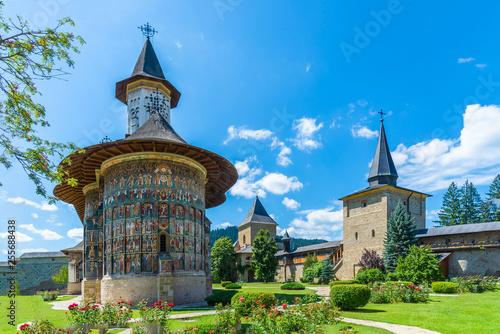 Canvas Print Sucevita orthodox painted monastery, Suceava town, Romania