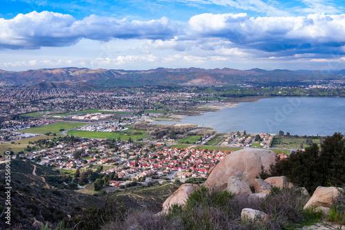 Fototapeta View on the city of Lake Elsinore, Southern California USA