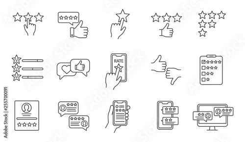 Stampa su Tela Rating linear icons set