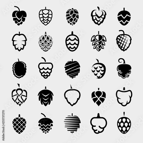Fotomural Hop set. Collection icon hops. Vector