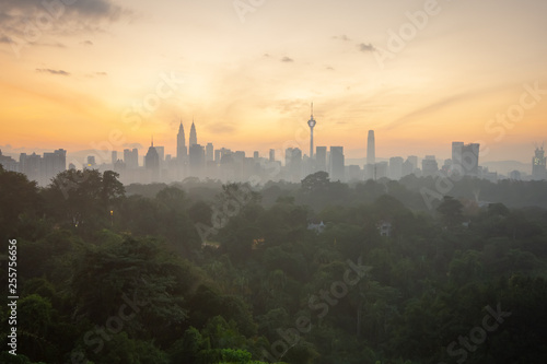 Fototapeta premium Sunrise view over Kuala Lumpur cityscape