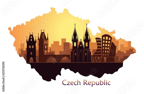 Canvas Print Landscape of Prague with sights